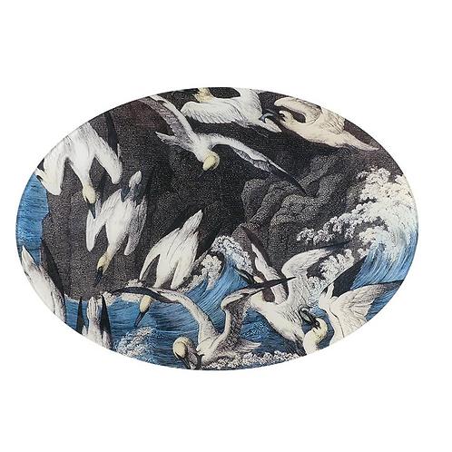 "Large Assiette decorative ovale ""Sea Gulls"" John Derian"