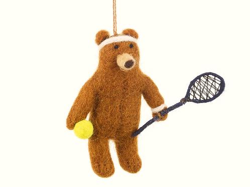 Décoration en feutre Ours Tennis