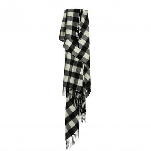Echarpe à carreaux noir et blanc
