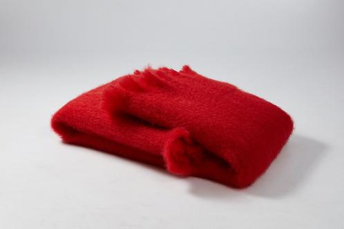 Echarpe ou foulard en Mohair couleur rouge corail