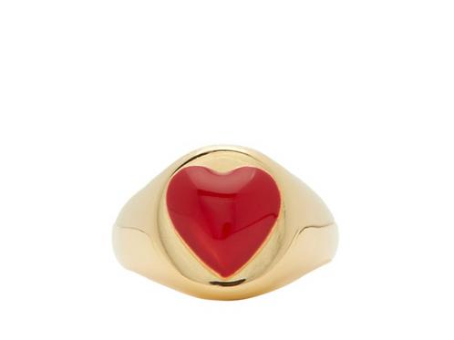 Chevalière en vermeil 18 carats et émail Heart WILHELMINA GARCIA