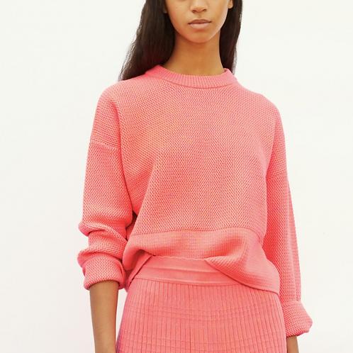 Sweater à col en maille ondulée praline Molli