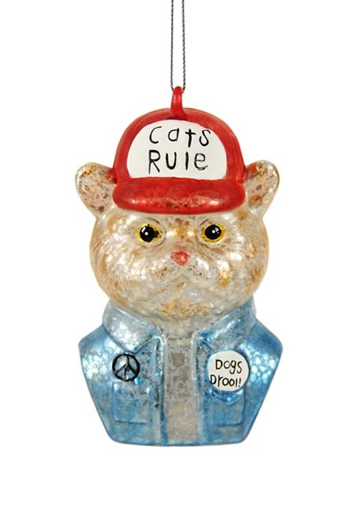 """Décoration de Noël """"Cats Rule, Dogs drool"""""""
