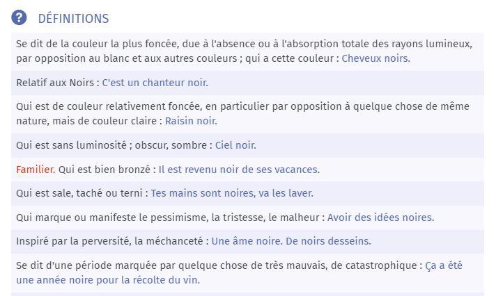 """Définitions du mot """"noir"""" - dictionnaire Larousse"""