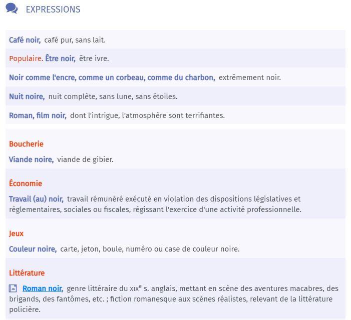 """Expressions contenant le mot """"noir"""" - dictionnaire Larousse"""