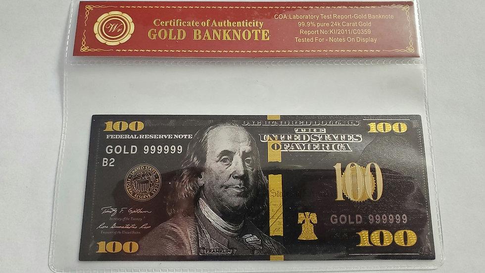 $100 Gold 24k Carrot Bank Note KI/2011/C0359 & Certificate Sleeve