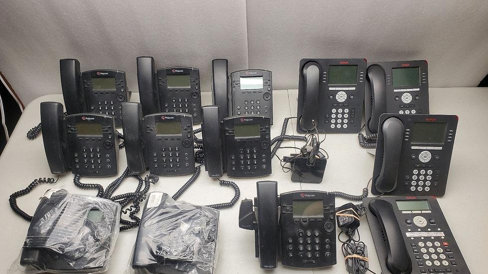 Huge Lot Of 13 Polycom & Avaya Telephones!! New and Used!