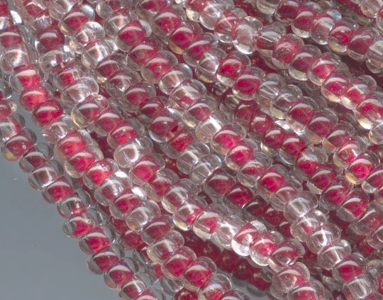 Vintage Clear Glass Rocailles with Red Foil Core Size 12/0