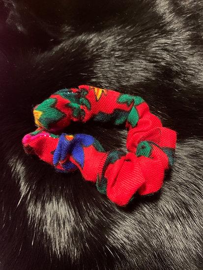 Scrunchies - Red Granny Scarf Print