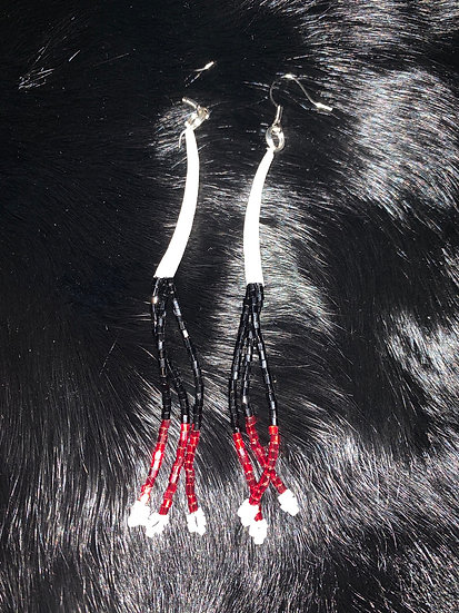 Dentalium, Black, Red & White Dangles
