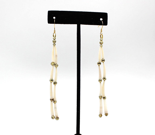 Dentalium Shells with gold coloured bead