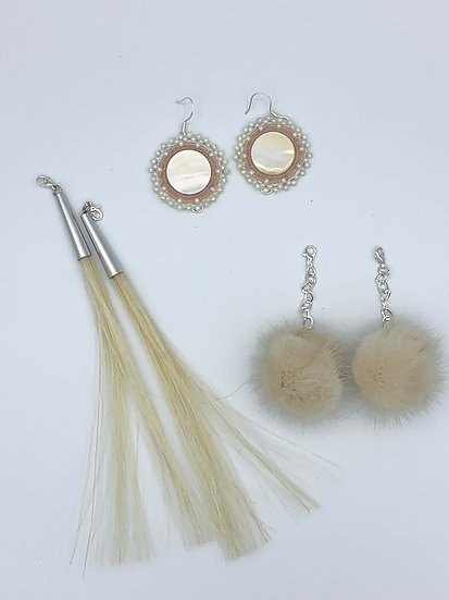 Vintage Beads, Natural Shell, Mink & Horse hair