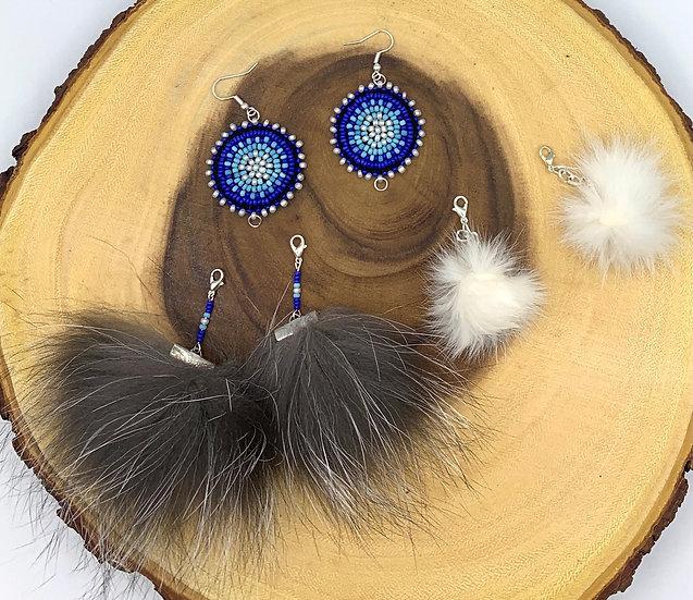 3 Piece Vintage beads wih Silver Fox & Rabbit Pom Pom