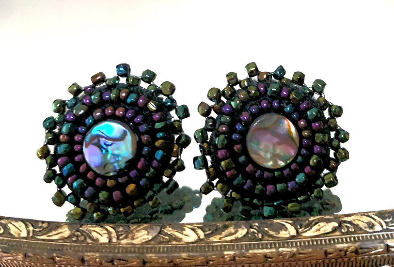 Vintage Tri cut beads wirh Abalone Shells Studs
