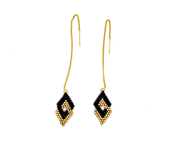 Black and Gold Double Diamonds