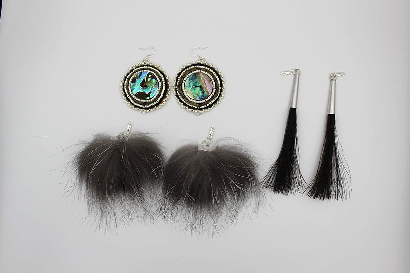 3 Piece Earring Set. Northern Shell Medallion