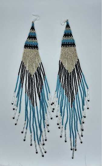 """Black, Turquoise & Silver 13"""" Dangles"""