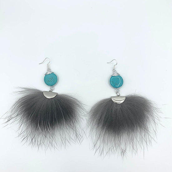 Turquoise wire wrapped with Silver Fox Fur
