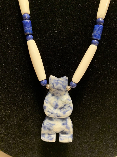 Denim Lapis Bear, Lapis Beads & Bone