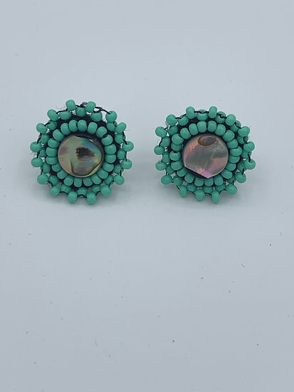 Abalone Shell with Mint Green Boarder Stud