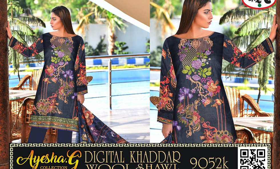 Digital Khaddar Wool Shwal 6 suits 1 box
