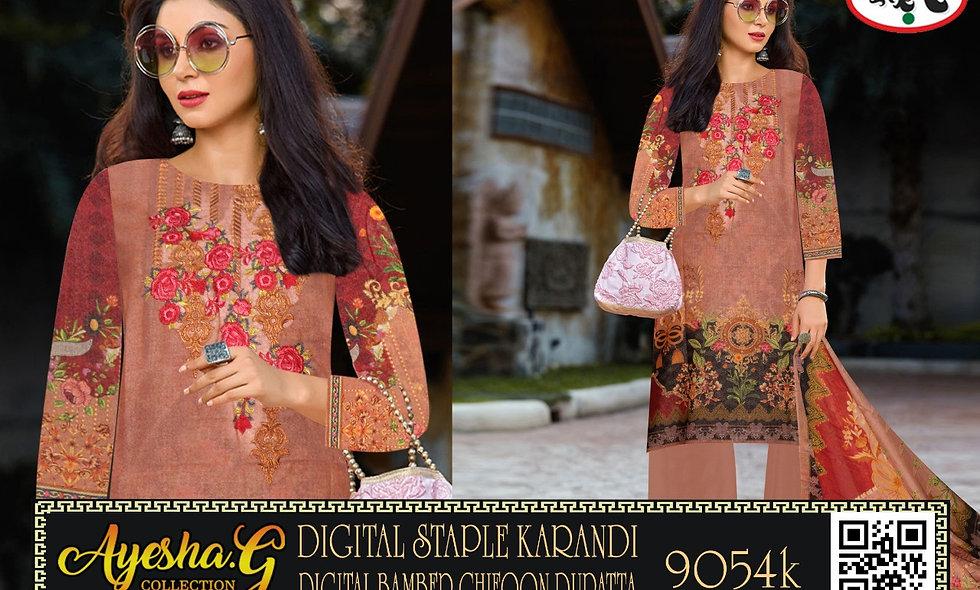 Digital Staple Karandi DIgital Bamber Chiffon Dupatta 6 suits 1 box