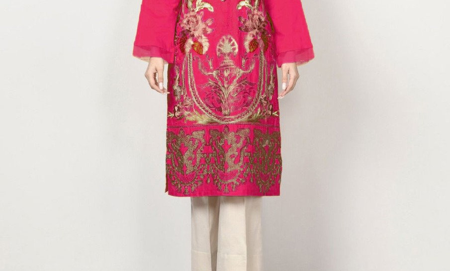 Linen Full Embroidery With Patches 2 piece