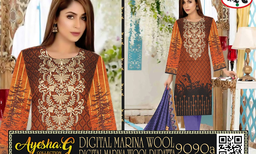 Digital Marina Wool Digital Marina Wool Dupatta 5 suits 1 box