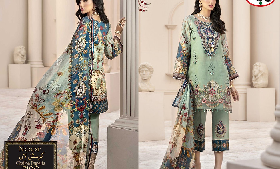 volume#9531 Crystal lawn With Saffon dupatta 8 suit in one box