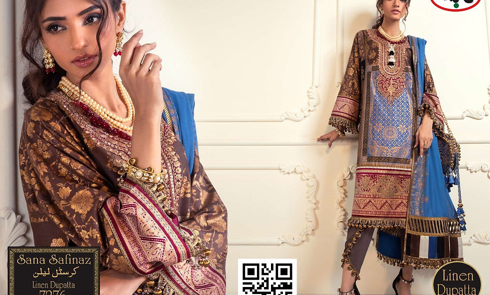 Crystal linen  With Linen Dupatta 8 suits 1 box