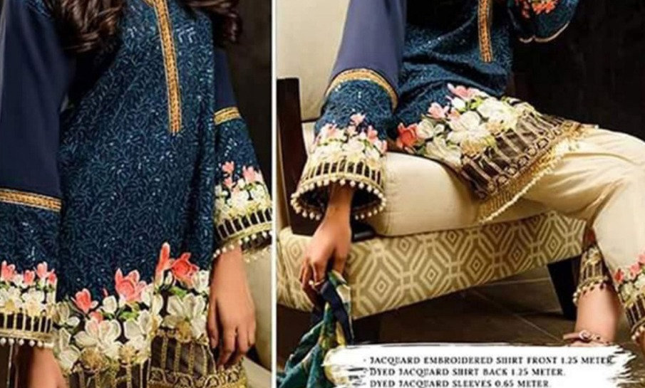 Morning Show Linen With full Embroidery With Patches Bamber Chiffon Dupatta
