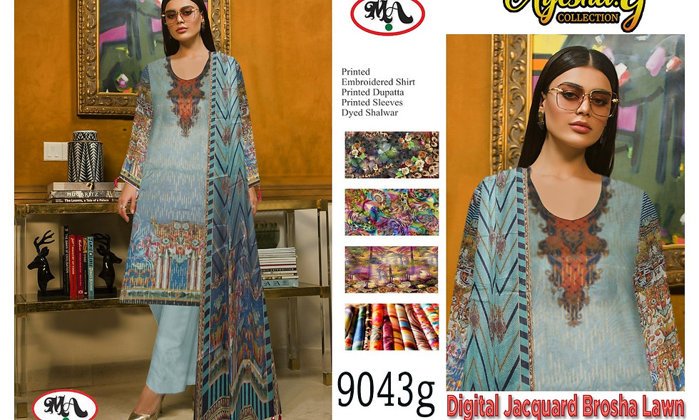 Digital Jacquard Brosha Lawn 100/100 Lawn Dupatta 6 suits 1 box
