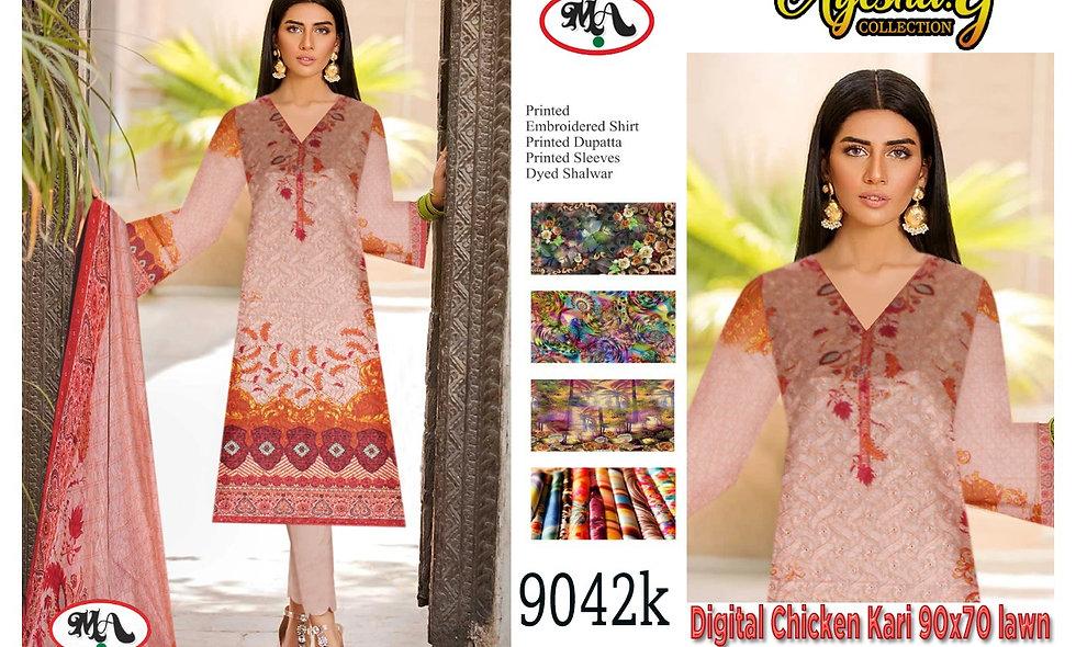 Digital Chicken Kari 90x70 Lawn Digital Bamber Dupatta 11 suits 1 box