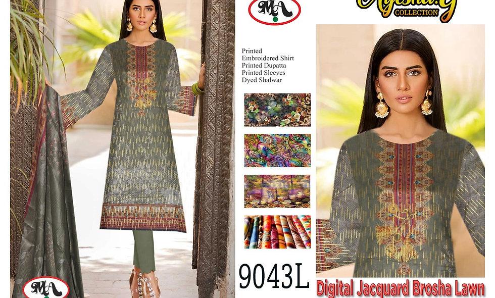 Digital Jacquard Teli Brosha Lawn 100/100 Lawn Dupatta 12 Suite 1 Box