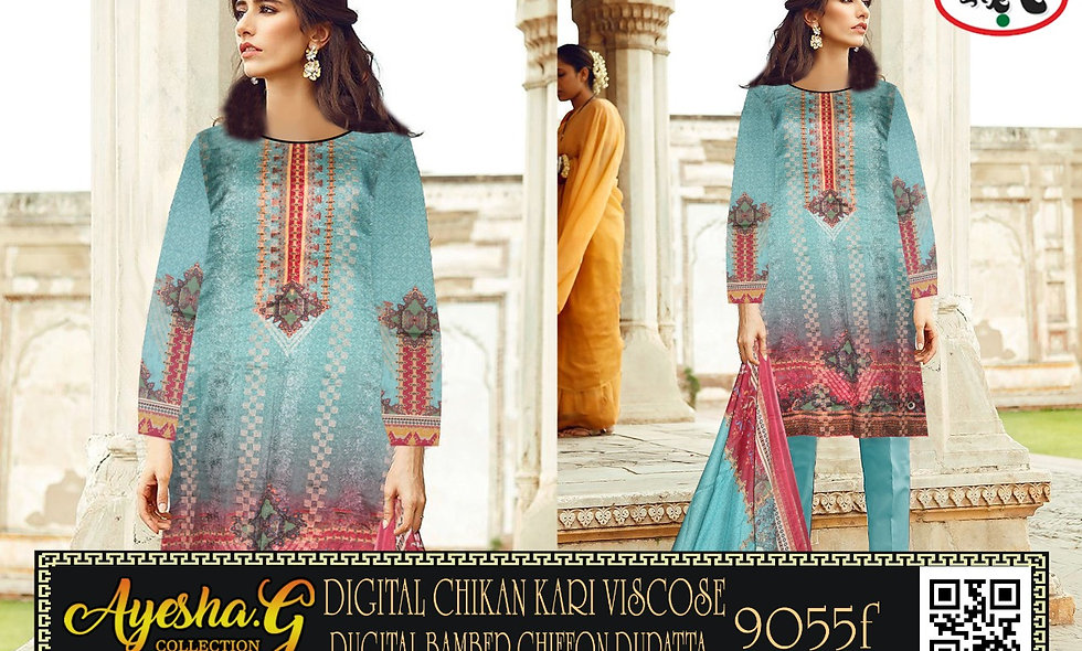 Digital Chiken Kari ViscoseDigital Bamber Chiffon Dupatta 5 suits 1 box