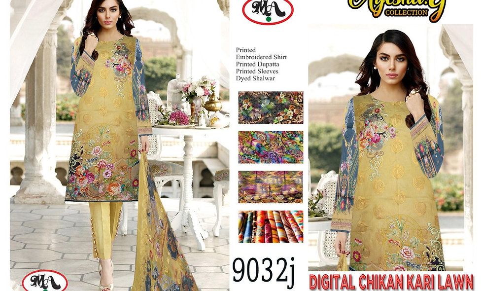 Digital Chikan Kari Lawn Digital Bamber Dupatta 10 suits 1 box