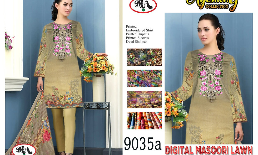 Digital Masoori Lawn Digital Bamber Chifoon Dupatta 9 suits