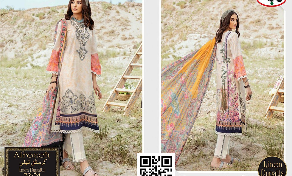 Crystal Linen Linen Dupatta And Wool Shawl 8 suits 1 box