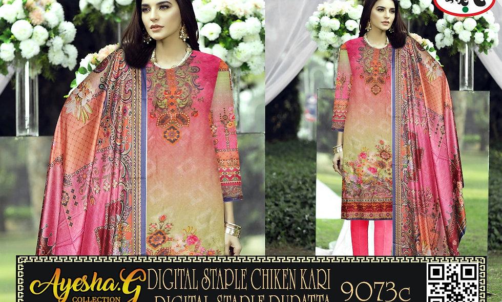Digital Staple Chiken Kari Digital Staple Dupatta 9 suits 1 box