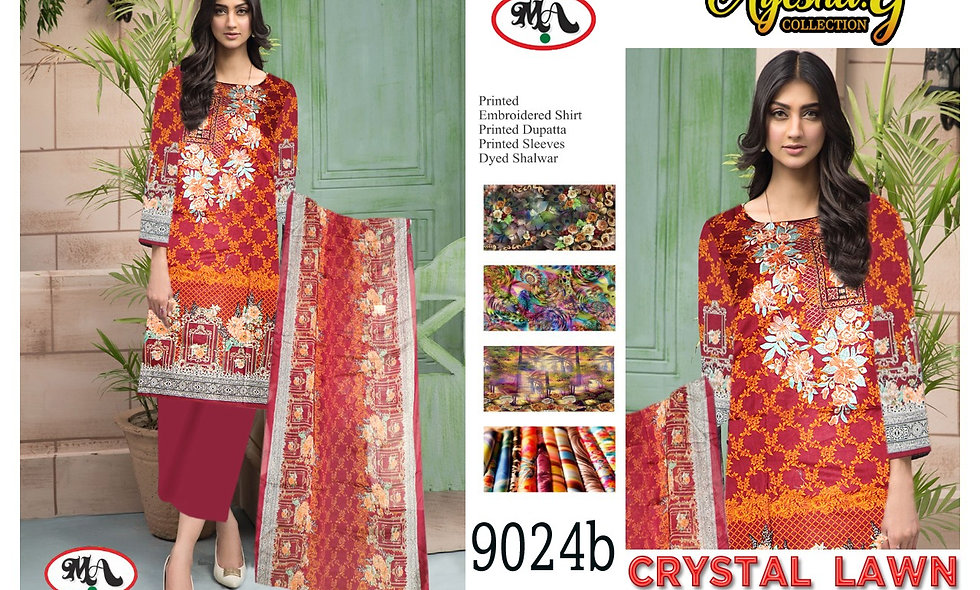 Crystal Lawn Bamber Chiffon Dupatta 10 suits 1 box