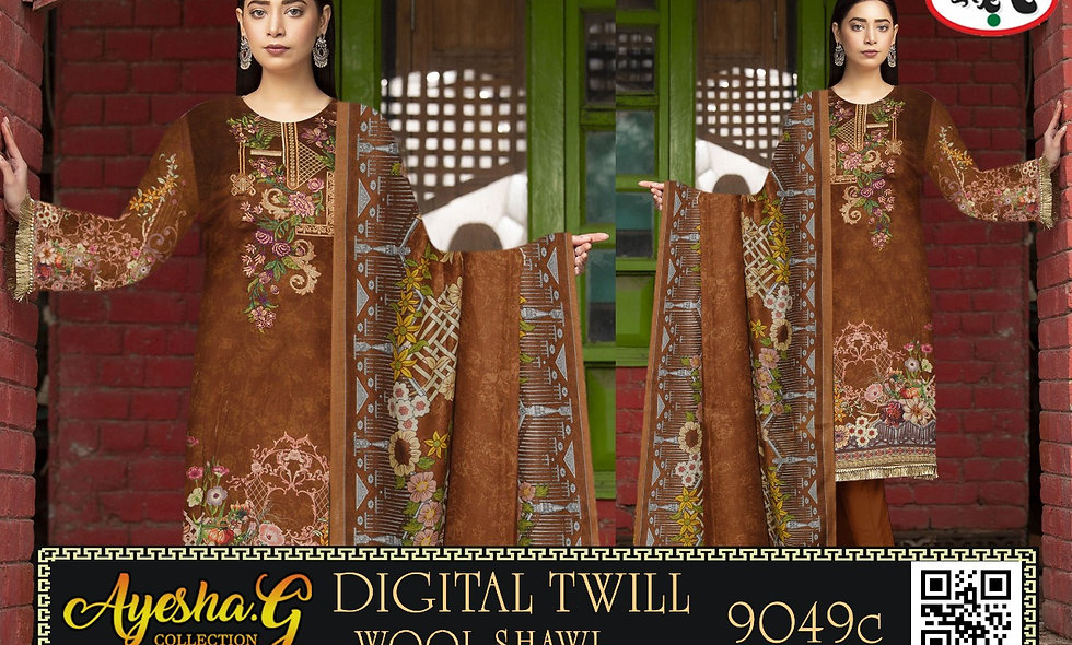 Digital Twill Linen With Wool Shawl 12 Suits 1 Box
