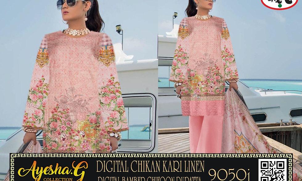 Digital Chikan Kari Linen Digital Bamber Chiffon Dupatta 10 sutis 1 box