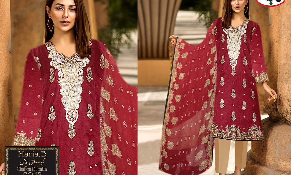 Crystal Lawn With Chiffon Dupatta