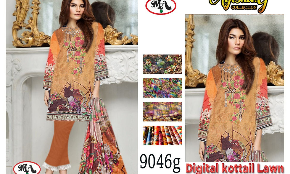 Digital Kottail Digital Lawn 100/100 dupatta 6 suits 1box