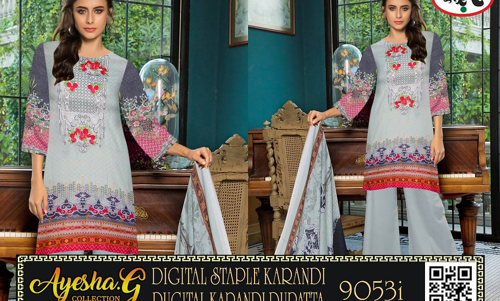 Digital staple Karandi With Digital Staple Karandi Duppata 6 suits in1 box
