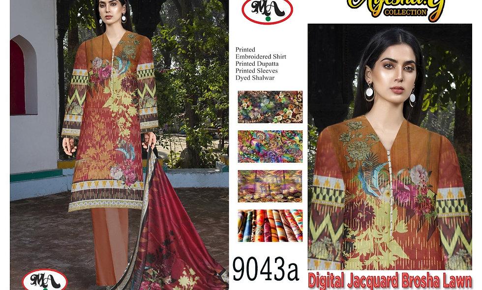 Digital Jacquard Brosha Lawn 100/100 Lawn Dupatta 6 suits in 1 box