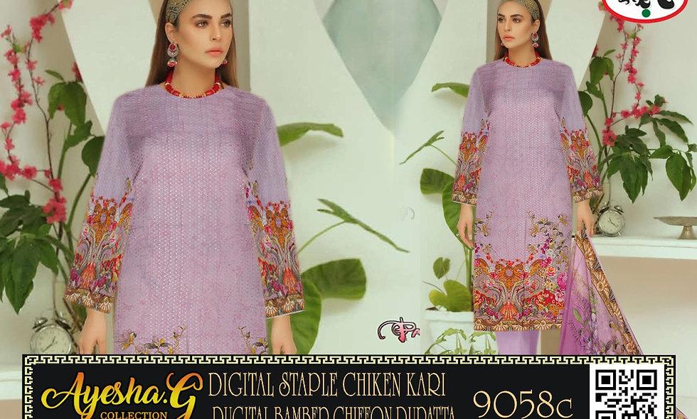 Digital ECG Linen Chiken Kari Digital Bamber Chiffon Dupatta 8 suits 1 box