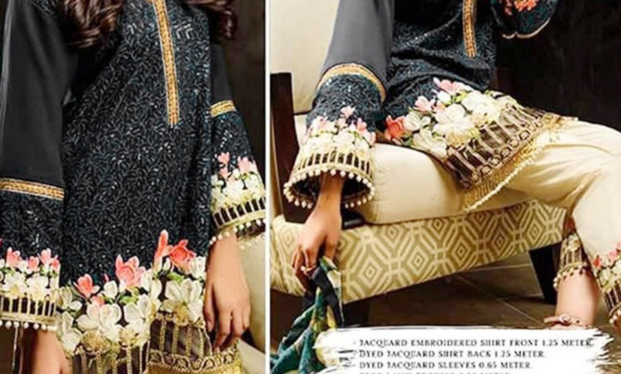 Morning Show Linen full Embroidery With Patches Bamber Chiffon Dupatta