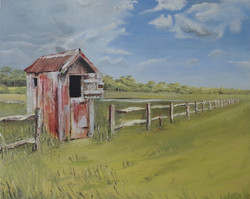 RED SHED - Oil-100x80cm