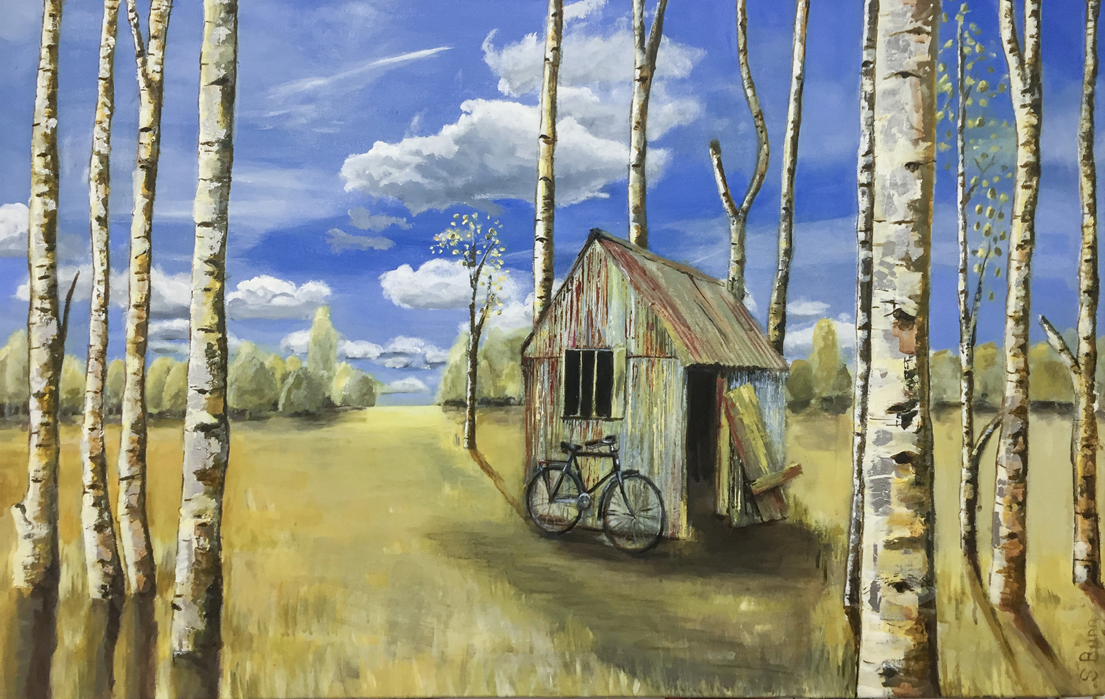 Bike-Shed-Acrylic-&-Silver-leaf--60X100cm-Susan-Bunn-Artist-Sold-WEB